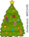 cartoon christmas fir tree.... | Shutterstock .eps vector #88921498