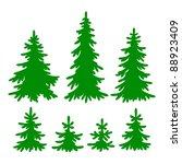 set of vector fir trees... | Shutterstock .eps vector #88923409
