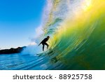 surfer on wave at sunset | Shutterstock . vector #88925758