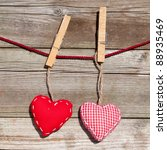 two red hearts of scrim on a... | Shutterstock . vector #88935469