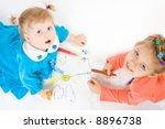 two little caucasian girl...   Shutterstock . vector #8896738