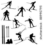 Collection of silhouettes of skiers - stock vector