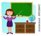 teacher in a classroom | Shutterstock .eps vector #89018845