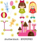 toys for girl  isolated | Shutterstock . vector #89090983