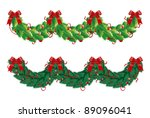 vector holly and fir garlands... | Shutterstock .eps vector #89096041