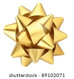 Gold Christmas Bow Isolated On...