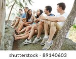 group of diverse young hikers... | Shutterstock . vector #89140603