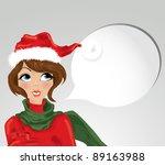 christmas girl   vector | Shutterstock .eps vector #89163988