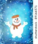 winter background with snowman... | Shutterstock . vector #89166571