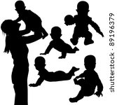 baby games   black silhouettes | Shutterstock . vector #89196379