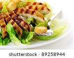 caesar salad with grilled... | Shutterstock . vector #89258944
