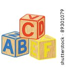 wooden toy cubes with letters | Shutterstock .eps vector #89301079