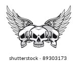 Three Danger Skulls With Wings...