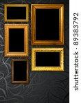 gold frame on black vintage... | Shutterstock . vector #89383792
