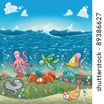 Family of marine animals under the sea. Funny cartoon and vector illustration - stock vector