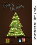 merry christmas   decorated... | Shutterstock .eps vector #89417557