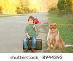 boy traveling with dog | Shutterstock . vector #8944393