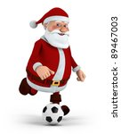 cute cartoon santa claus playing soccer - high quality 3d illustration - stock photo
