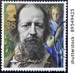 Small photo of GREAT BRITAIN - CIRCA 1992: a stamp printed in the Great Britain shows Alfred Lord Tennyson, centenary of death, circa 1992