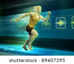 man running in a virtual... | Shutterstock . vector #89607295