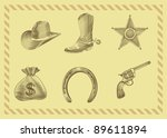 cowboy icon set in engraving... | Shutterstock .eps vector #89611894