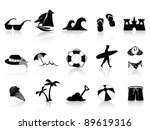 black beach icon set - stock vector