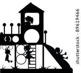 silhoeuttes kids playground | Shutterstock .eps vector #89619466