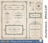 vintage frame  ornament and... | Shutterstock .eps vector #89631169