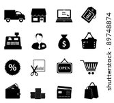 Shopping icon set in black - stock vector