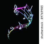 colorful music notes with a... | Shutterstock . vector #89769985