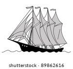 sailfish silhouette on white... | Shutterstock .eps vector #89862616