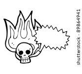 burning halloween skull cartoon ...   Shutterstock .eps vector #89864941