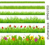 big grass and flower set ... | Shutterstock . vector #89901553
