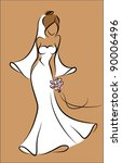 silhouette of a bride in a...   Shutterstock .eps vector #90006496