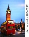 london  big ben and bus at...