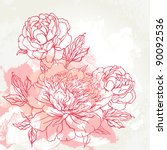 beautiful peony  bouquet design ... | Shutterstock .eps vector #90092536
