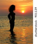 girl. suinrise. beach. | Shutterstock . vector #901139