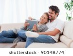 in love couple using a tablet... | Shutterstock . vector #90148774