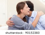 couple embracing each other in... | Shutterstock . vector #90152383
