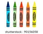 Line Of Different Color Crayon...