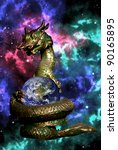dragon rolled the earth in the... | Shutterstock . vector #90165895