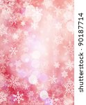 Vertical red Christmas background with snowflakes in different sizes. Snowflakes are drawn from these natural snowflakes. - stock photo