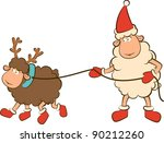 christmas funny sheep with deer....   Shutterstock .eps vector #90212260