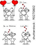 couple in love  a child's... | Shutterstock .eps vector #90270802