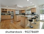large kitchen with oak wood... | Shutterstock . vector #90278689