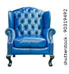 blue luxury armchair isolated with clipping path - stock photo