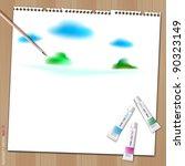 painting sky on white paper... | Shutterstock .eps vector #90323149