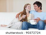 charming couple watching... | Shutterstock . vector #90372724
