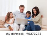 young family surfing the...   Shutterstock . vector #90373273