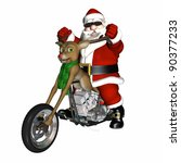 Santa looking cool with a bit of an attitude on his reindeer concept chopper.  Antler handlebars, red nose headlight, and engine made of chrome and presents. - stock photo